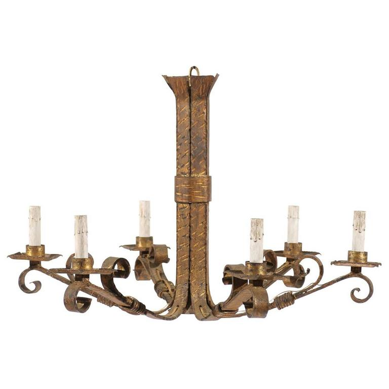 Spanish Vintage Six-Light Gilt Iron Chandelier