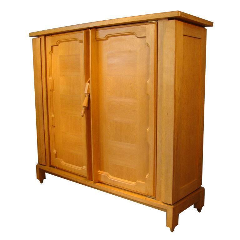 "Guillerme et Chambron, Waxed Oak and Veneer Oak Cabinet, ""Bouvine"" For Sale"
