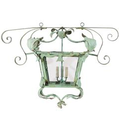 Italian Vintage Large Size Rectangular Painted Three-Light Lantern