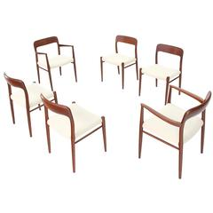Set of Six Danish Solid Teak Dining Chairs, Two Armchairs, New Upholstery