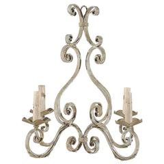 French Four-Light Painted Iron Chandelier with Scroll Motifs