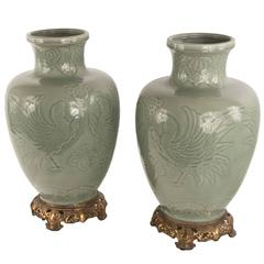 Pair of 19th Century Japanese Celadon Baluster Vases