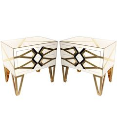 Contemporary Pair of Italian Gold Black and White Bed or Side Tables