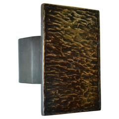 Bronze Push and Pull Art Door Handle with Hammered Relief