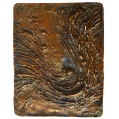 Bronze Push and Pull Art Door Handle Wave Relief