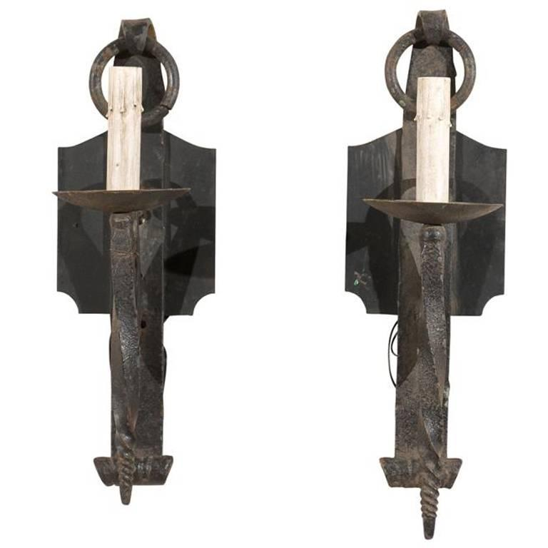 French Iron Wall Sconces : Pair of French Vintage Iron Sconces with Scrolled Backplate at 1stdibs