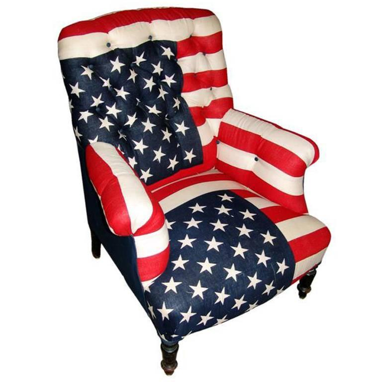 Napoleon III Bergere Armchair Upholstered in Vintage American Flags For Sale