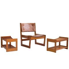 Grete Jalk Oregon Pine Easy chair with stools, 1963