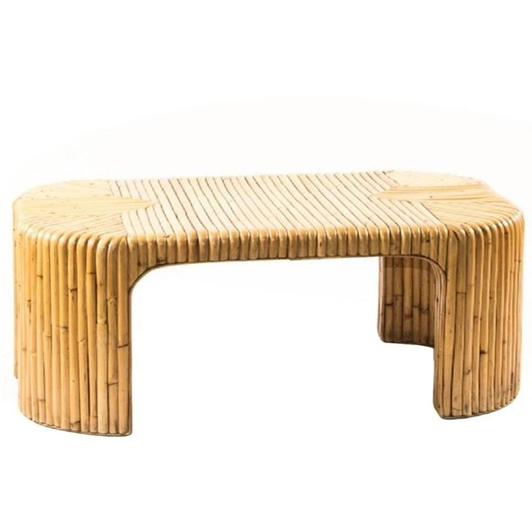 Stylish Milo Baughman Style Bamboo Coffee Table For