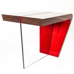 Contemporary Red and Lacquered Walnut End Table