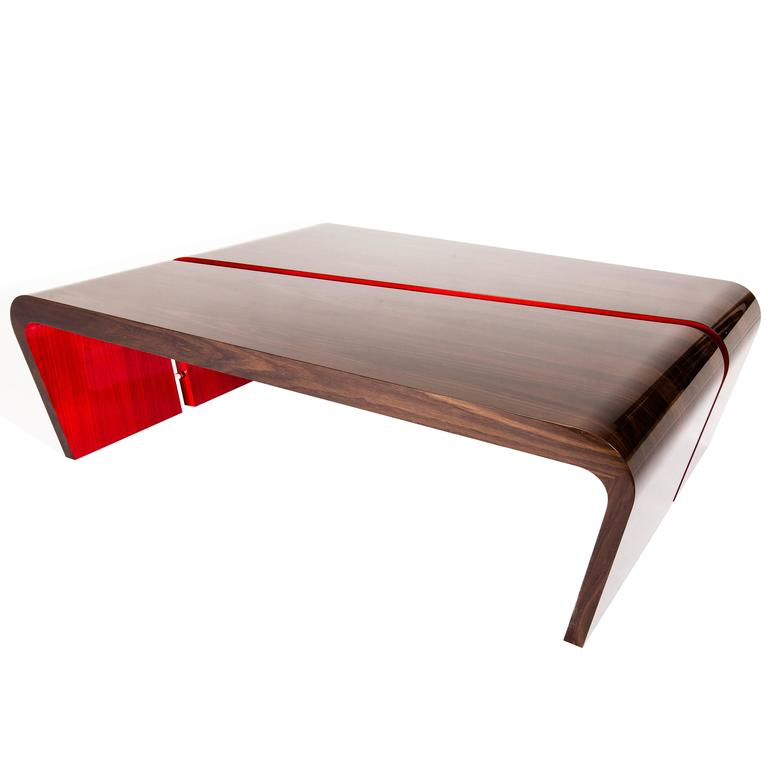Lacquered Coffee Table In Red And High Gloss Fumed Oak At