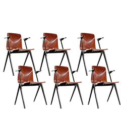 1967 Set of Six S22 Galvanitas School Chairs Dutch Industrial Design