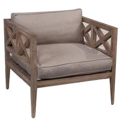 Wood and Linen Lounge Chair