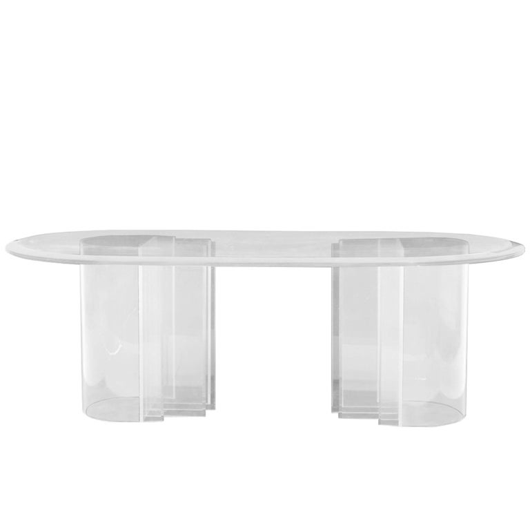 """Double Pedestal Lucite Dining Table by Charles Hollis Jones, """"Blade"""" Line For Sale"""