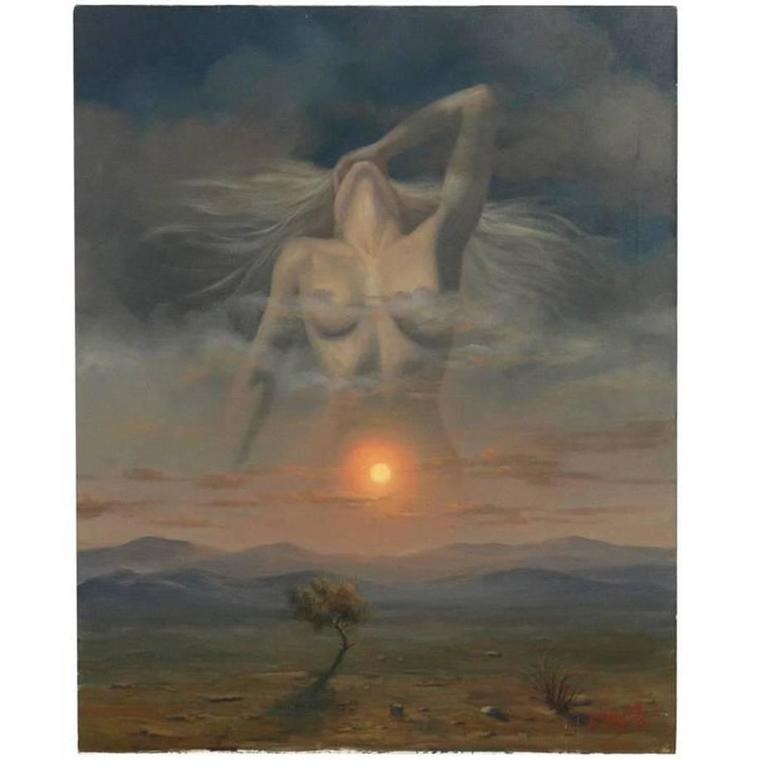 Surrealist Nude Painting by Alex Alemany For Sale