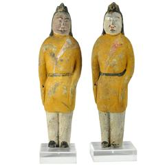 Ancient China pair Military officers handsome 1400 year old sculptures yellow