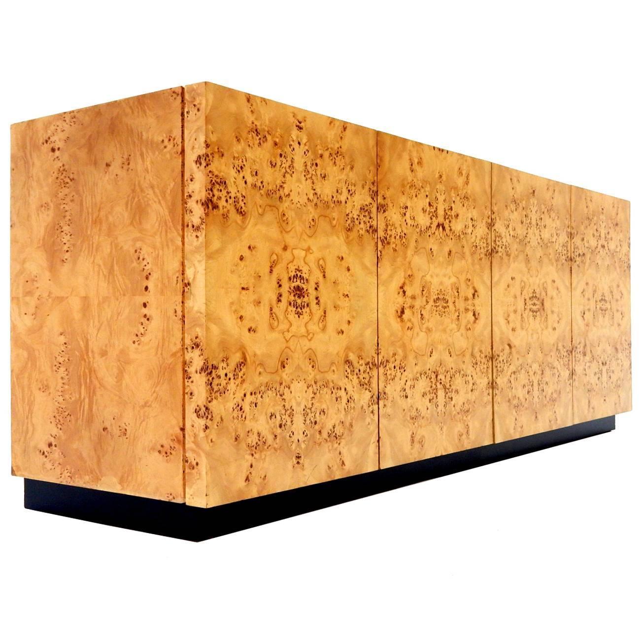 1976 Milo Baughman For Thayer Coggin Birdseye Maple Burl Wood Buffet Cabinet  At 1stdibs