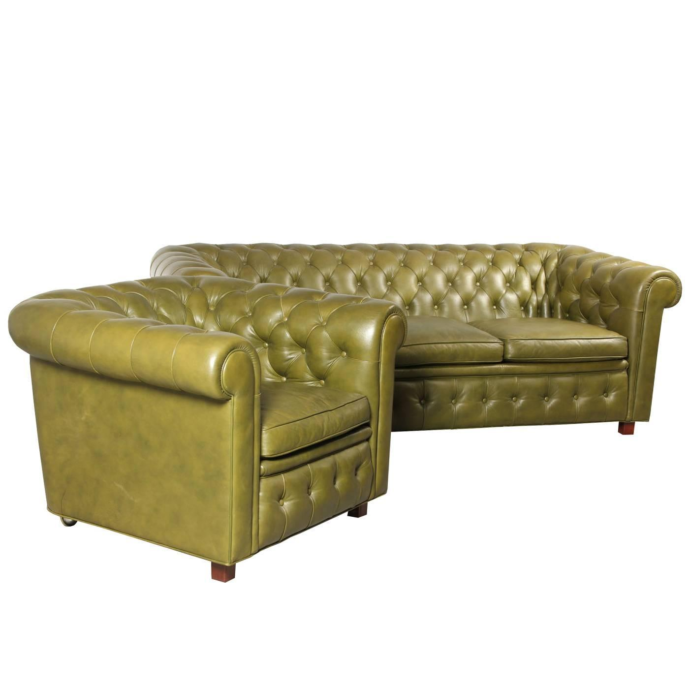 Leather Chesterfield Style Sofa and Armchair by Arne Norell at 1stdibs