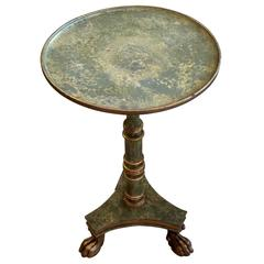 Glamorous Venetian Faux Painted & Gilded Round Side Drinks Table