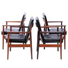 Arne Vodder Model 431 Rosewood and Black Leather Armchairs