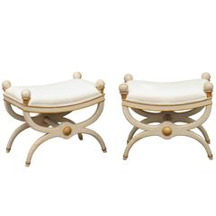 Pair of Painted X-Frame Stools