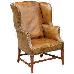 19 th c.English Leather Wing Chair
