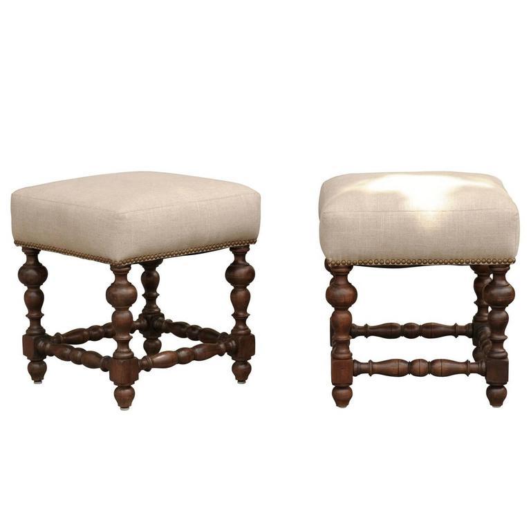 Pair of English 1870s Walnut Upholstered Stools with Turned Legs and Stretchers