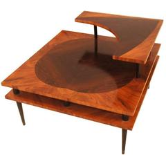 Vintage 1960s Three-Tiered Side Table with Marquetry Detail