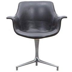 Jørgen Kastholm Swivel Chair in Black  'New Upholstery'