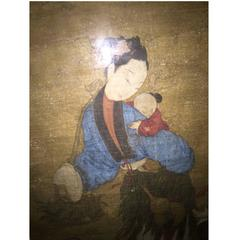 """Lovely Chinese 17thc Painting Immortal """"Spirit Brings a Male Child to House"""""""
