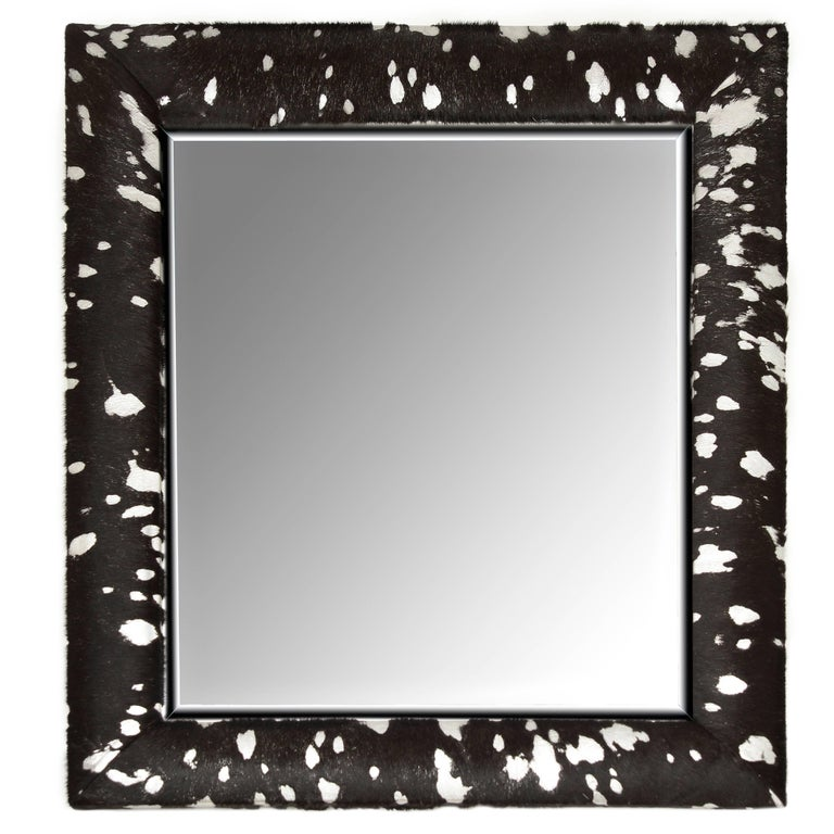 Contemporary Black and Silver Metallic Hair-on Hide Framed Beveled Mirror For Sale