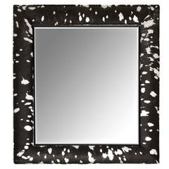 Contemporary Black and Silver Metallic Hair-on Hide Framed Beveled Mirror