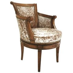 Vintage Swivel Chair in Brown and White Speckled Brazilian Cowhide