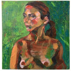 Nude Oil Painting in Green