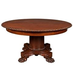 American 19th Century Neoclassical Empire Mahogany Expanding Round Dining Table