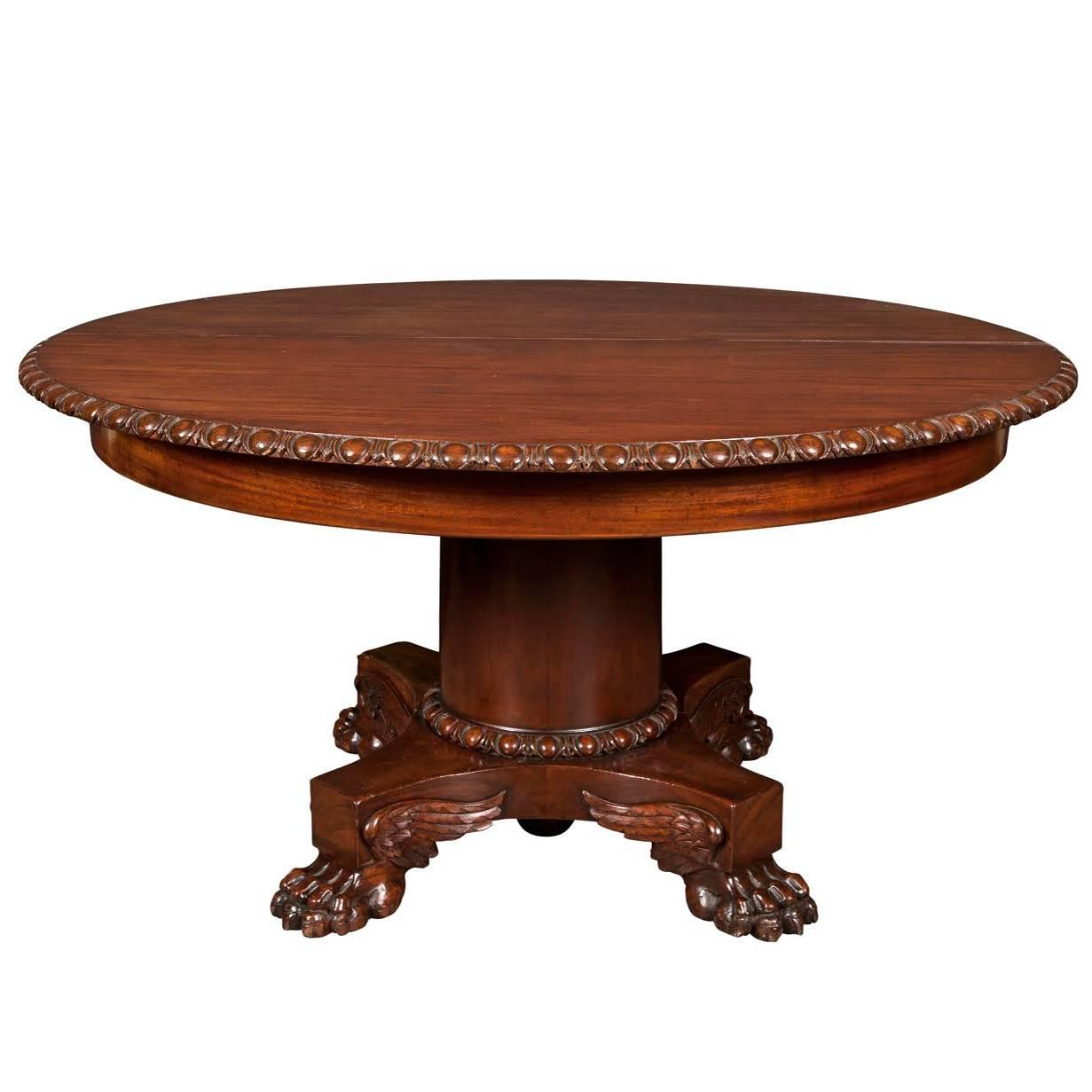 empire mahogany expanding round dining table for sale at 1stdibs