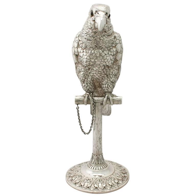 Edwardian Sterling Silver Parrot Sugar Box