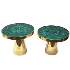 Pair of Tables, Gold Brass and Top in Semi-Precious Stone, circa 2010, Italy