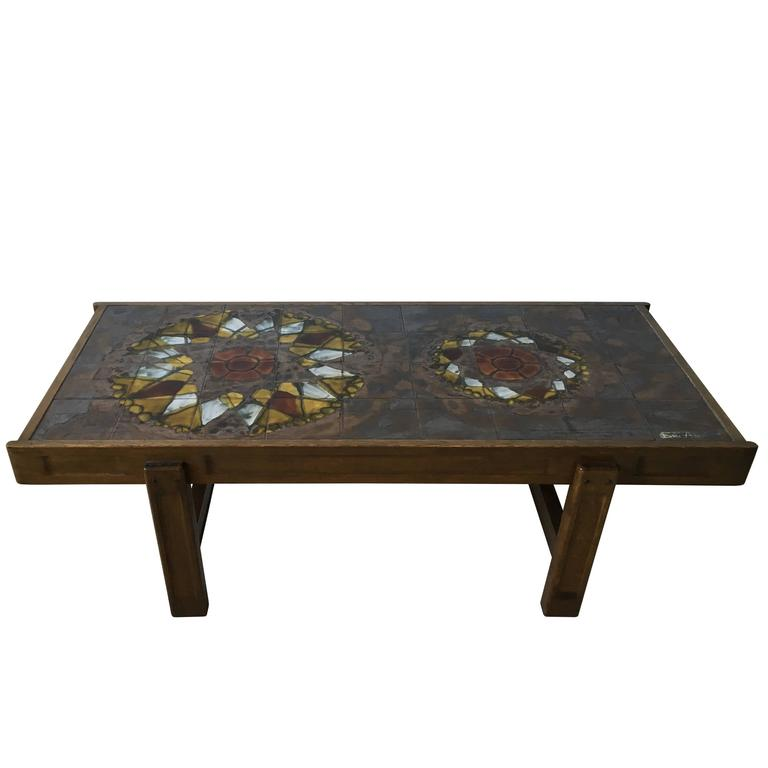 Oak Frame and Ceramic Coffee Table by J. Belarti, 1970s