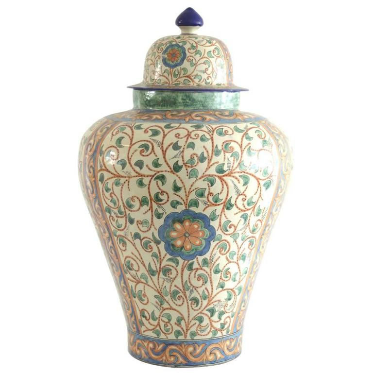 Colorful Talavera Vase with Baroque Spanish Design For Sale