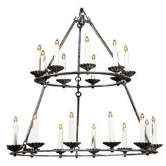 Custom Double Ring Wrought Iron Chandelier with Bronze Finish
