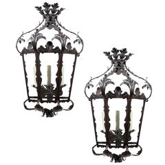 Pair of Italian Rococo Style Three-Light Wrought-Iron Lantern-Shaped Sconces