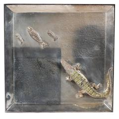 Silver Plated Alligator and Fish Tray by Mexican Artist Emilia Castillo