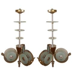 Pair of Art Deco Light Fixtures from the Metro Goldwyn Mayer Theatre, Bombay