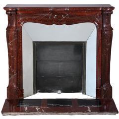 Pompadour Fireplace in Griotte Marble, 19th Century