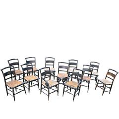 TWELVE Hitchcock Fancy Painted Dining Chairs