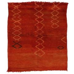 Berber Moroccan Red Rug with Modern Tribal Design