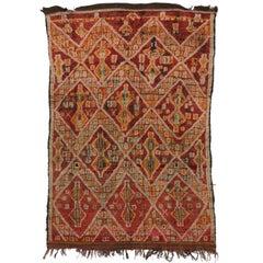 Vintage Red Moroccan Zayane Rug, Berber Moroccan Beni M'Guild Carpet