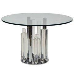 Skyscraper Dining/Center Table in Lucite and Chrome by Charles Hollis Jones