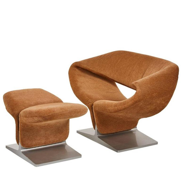 Pierre Paulin Ribbon Chair and Ottoman Manufactured by Artifort